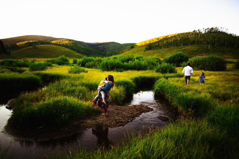 Family Photographer, a young family of four explores a lush grassy area with streams that divide them