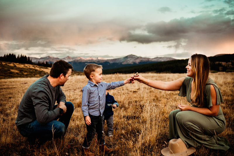 Family Photographer, Family of four in meadow, small boy hands mother flower