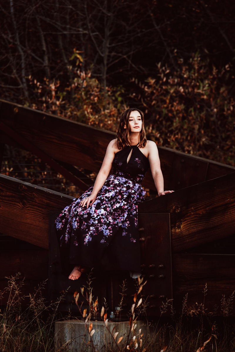 Senior Portrait, High School brunette woman in black and purple patterned dress sits on a fence in a field